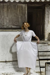 Symmetrical loose long dress cocoandsilk,marble necklace Marmarometry,sandals DI GAIA .