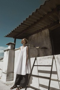 Cotton dress and pants cocoandsilk,sandals DI GAIA .