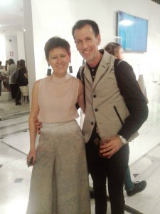 Sandrine Galparoli in a total Η&Μ Conscious outfit,the recycled earrings gave the impression of marble
